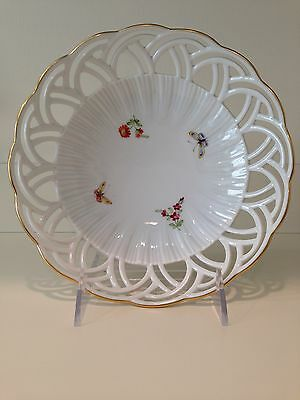 Hochst Hand-Painted Porcelain Butterflies and Flowers Bowl Made in Germany New