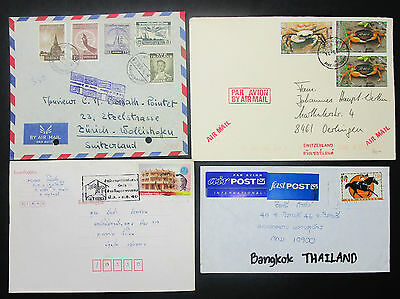 Thailand New Zealand Set of 4 Covers Crab Temple Stamps Neuseeland Briefe H-8608