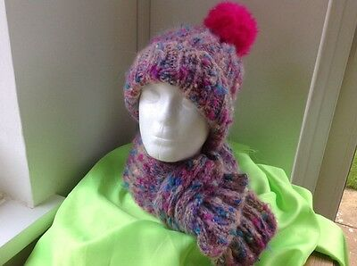 Hand Knitted Mohair Hat And Scarf Set