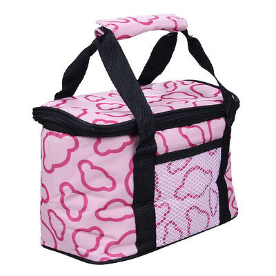 Insulated Water-Proof Lining Canvas Lunch Box Bag Cooler Tote Bag--Pink UK Stock