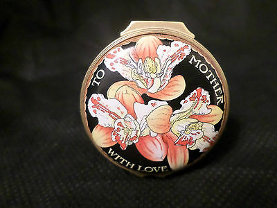 "Rare Halcyon Days Enamel Box ""to Mother With Love"" With Floral Decorations"