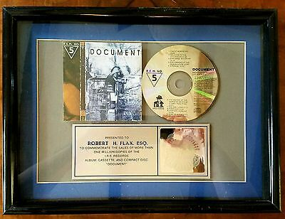 Rem-Document-Irs Records-1987-One Of A Kind-Framed-Rare-Real Deal-Platinum-Cd