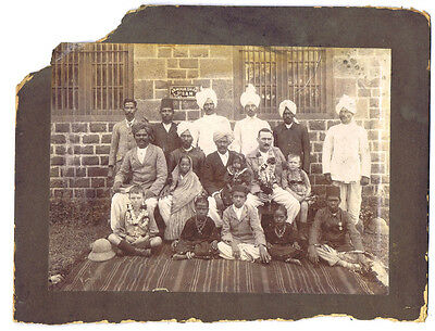INDIA Group of Natives with European Man & Children - Antique Photograph c1910