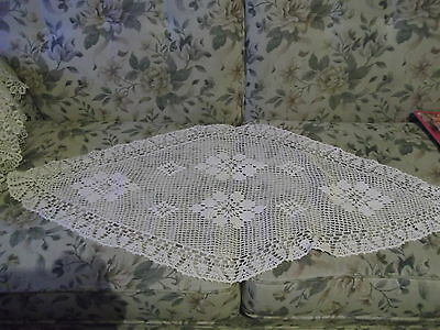 "42"" x 15"" elongated  diamond crocheted doily - no damage to the work"