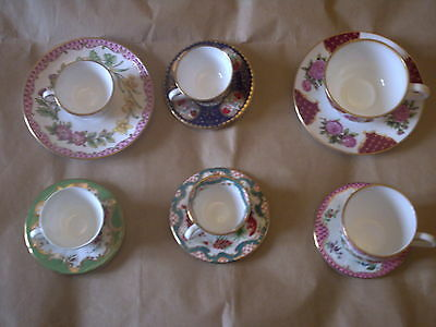 6 X Royal Worcester Miniature Cups And Saucers.