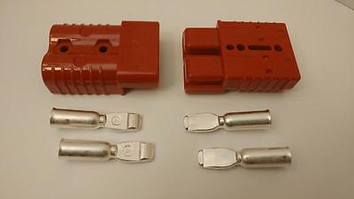 2 Connectors Plugs+Contacts, #0Awg, Anderson, Sb175A-600V, Forklifts, Boats, 4X4