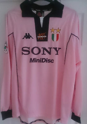 Juventus Zidane Player Issue Pink 97 Centenary Long Sleeve Shirt Jersey Italy