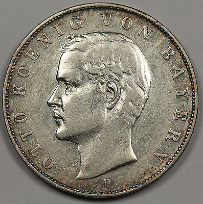 German States Bavaria 1909 D 3 Mark Silver Coin XF+ KM #996 GERMANY