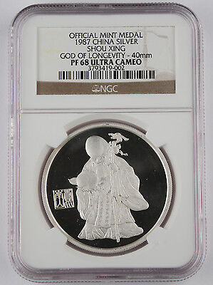 1987 China God of Longevity 1 oz Silver proof NGC PF 68 Ultra Cameo Shou Xing
