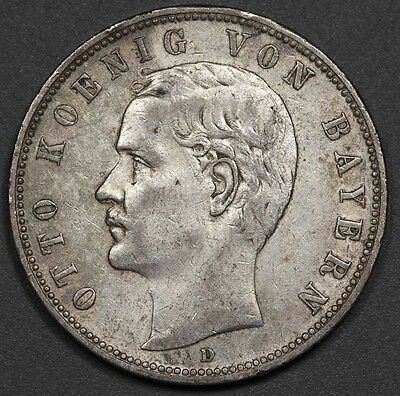 1904 D GERMANY Bavaria Five 5 Mark Silver Coin VF/XF KM #915