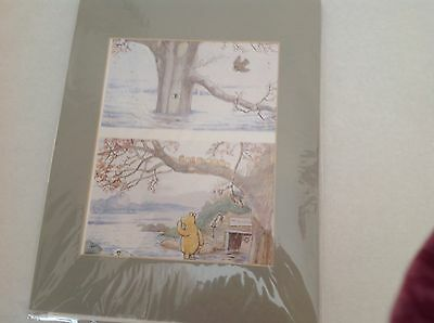 Classic Winnie the Pooh Shepherd art print with green mat, ready to frame