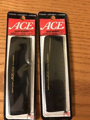 "VINTAGE 5"" ACE COMB Hard Rubber.year 2000 -lot Of 2 Fine Tooth"