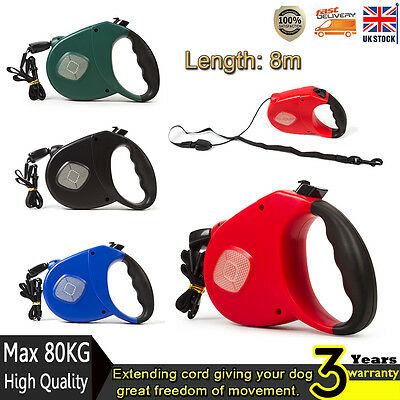 High Quality 8M 80KG Retractable Dog Pet Lead Extendable Training Lead New