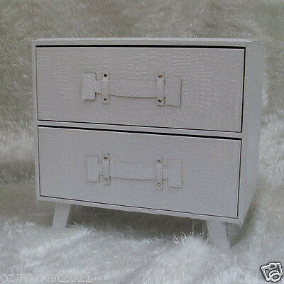 Modern L49cm W28cm H43cm Leather Two Drawers Type White Storage/Bedside Cabinet