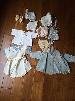 Lot of antique baby or doll clothes and bonnets