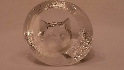 Mats Jonasson Hand Made Lead Crystal Cat Kitten Paperweight Sweden Signed MINT