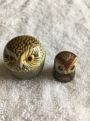 Cloisonné Owl Thimble With Hand Painted Taiwanese Owl Thimble Holder
