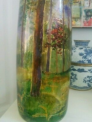 Magnificent tall hand painted vintage glass vase