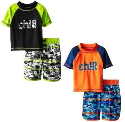 iXtreme Toddler Boys Swimwear Chill Camo Board Short Swim Trunk Rashguard Set