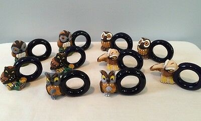 Adorable Set Of 10 LEPS Peru Pottery Owl Napkin Rings In Cobalt Blue All Signed