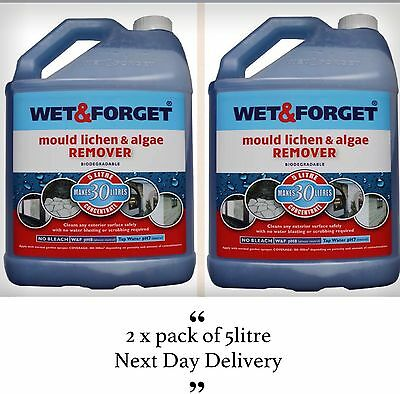 2 x 5L WET AND FORGET MOULD, ALGAE AND LICHEN REMOVAL Garden  - Bargain
