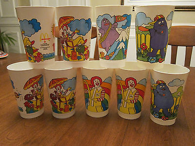 9 McDonalds Plastic Dinking Glasses Lot (Canada) 5 inches high