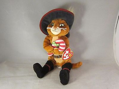 "TY Puss in Boots Shrek the Halls 8"" Plush Cat Beanie Baby Christmas Candy Cane"