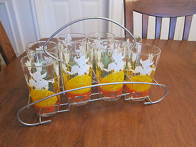 SET OF 8 VINTAGE MID CENTURY Tulip/Dutch Girl and Floral Pattern WITH WIRE CADDY
