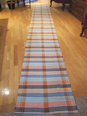 Vintage Hand Made Woven Rug / runner cotton material 168 inches long = 14 feet