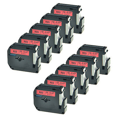 10 PK Black on Red Label Tape for Brother P-touch MK431 M-K431 P-Touch PT-80SCCP