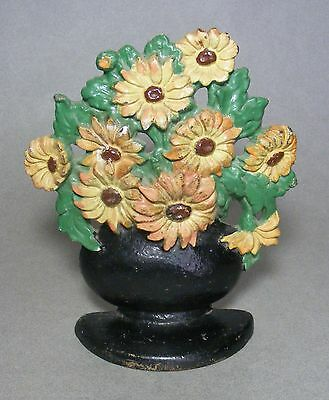 Vintage Cast Iron Floral Doorstop Black-Eyed-Susans