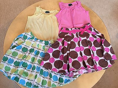 Mini Boden 2 SETS 5-6 7-8 50's Printed Skirts + Sleeveless Tops 4 PIECE LOT
