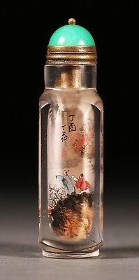 DING ERZHONG ANTIQUE CHINESE INTERIOR PAINTED GLASS SNUFF BOTTLE 19th C.
