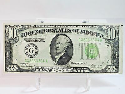 1928 B $10 Federal Reserve Note  G Chicago  F-2002G (Plate Ser. No. D)