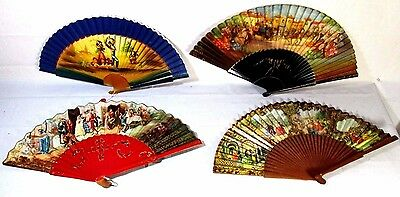 Lot Of 4 Vtg Majorca Pictoral Hand Fans Ladies Spain Spanish BEAUTIFUL MUST SEE