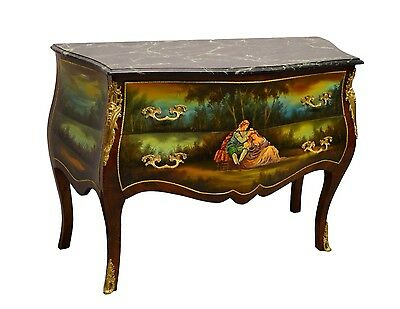 French Style Bombe Bombay Hand Painted Chest of Drawers Commode Green Marble