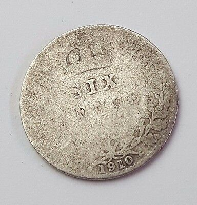 1910 - Silver - 6d / Sixpence - Great Britain - Edward VII - English UK Coin