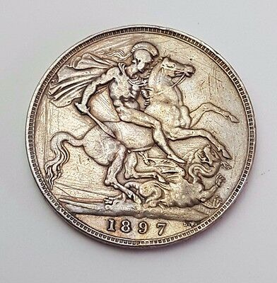 1897 Lxi Queen Victoria - Silver - One Crown / Five/ 5 Shillings - English Coin