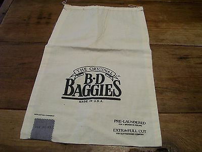 Vintage Textile Printed Sacks -Cloth- B D BAGGIES SHIRT BAG-1970's -3 available