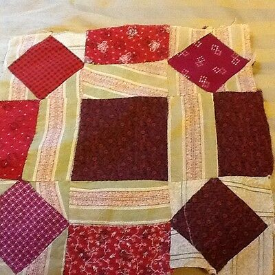 """1 1880's Rolling stone quilt block, reds 12.5"""""""