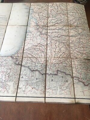 Vintage Large Color Map Of France/Spain (in French) Incomplete