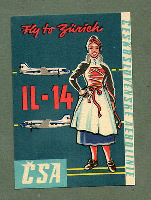 Airline luggage label CSA to Zurich  #676