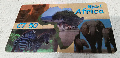 """FRANCE : """"Best Africa"""" pre-paid phone card  €7.50"""