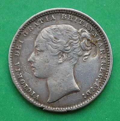 1873 Victoria Young Head Silver Shilling Die#141 (VF)