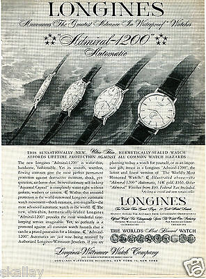 1958 Print Ad of Longines Wittnauer Watch Co Asmiral 1200
