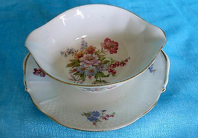 BERNARDAUD Limoges France B & Co Floral SAUCE GRAVY BOAT w/ Attached UNDERPLATE