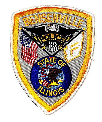 BENSENVILLE ILLINOIS IL Police Patch STATE SEAL FLAG US FLAG EAGLE ~