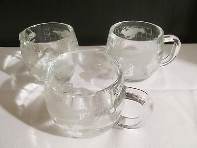 Set of 3 Vintage Etched Glass Nestle Necafe World Globe Coffee Cups / Mugs