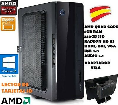 Ordenador Pc Mini Potente, Quad Core, 8Gb Ram, 240Gb Ssd, Vesa, Hdmi