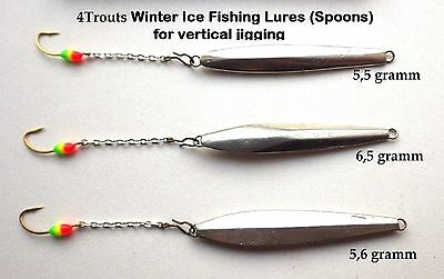 ICE FISHING LURES Set 3pcs Handmade Spoon Winter Sport Scandinavian Jig Vertical